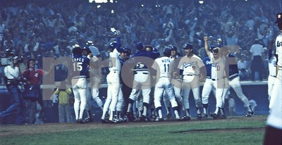 Los Angeles Dodgers Celebrate Playoff Win vs Astros in Dodger Stadium