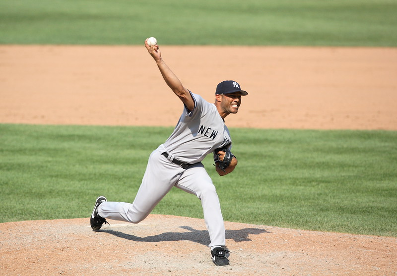 Mariano Rivera in his delivery against the Baltimore Orioles at Camden Yards.