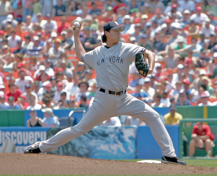 Chien-Ming Wang in his delivery of a pitch against the Washington Nationals.
