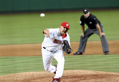 Chad Cordero, then the Washington Nationals ace of a closer, delivering a pitch in 2007.