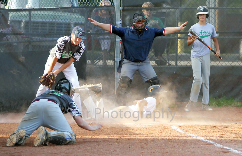 Avoca's Dalton Eads (27) steals home in the bottom of the third inning in Thursday evenings action against the Green Tornados's at the East Tennessee Junior American Legion State Championship quarter-final game at T.A.Dugger.<br /> Star Photo/Larry N. Souders
