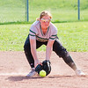 Record-Eagle/Brett A. Sommers Traverse City West's Ana Walters fields a ground ball during Thursday's game against Kalkaska. West won the doubleheader opener 3-1.
