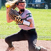 Record-Eagle/Brett A. Sommers Traverse City West's Tacey Looze fields a ground ball and readies to throw during Thursday's game against Kalkaska. West won the doubleheader opener 3-1.