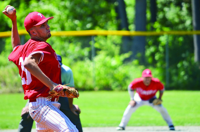 Tim Sargent took the mound for the Lunenburg Phillies on Saturday afternoon against the Brooklyn Bonnie Rams. SENTINEL & ENTERPRISE / Ashley Green