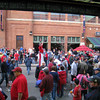 At fenway, the turnstiles on are on the street outside of the park. it's one big street fest.