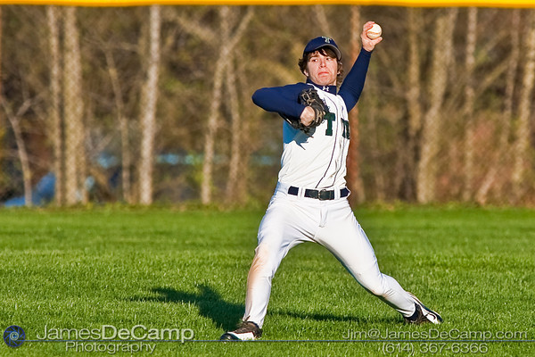Tree of Life School's #8 Gordon Coakley throws an outfield catch in as his baseball team takes on Bishop Hartley High School Friday afternoon April 9, 2010 at the Ridgeview Middle School. (© James D. DeCamp | http://www.JamesDeCamp.com | 614-367-6366)