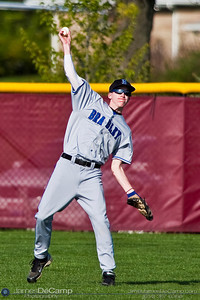 Hilliard Bradley High School's Center Fielder #1 Trey Welch catches and throws a ball during their baseball game held at New Albany High School Wednesday afternoon April 14, 2010. (© James D. DeCamp   http://www.JamesDeCamp.com   614-367-6366)