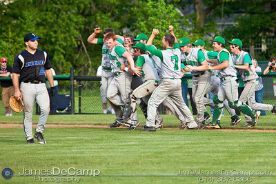 Newark Catholic High School's celebrates their win over Grove City Christian High School in the OHSAA Division IV District Final game held Thursday afternoon May 20, 2010 at Dublin Jerome High School. (© James D. DeCamp | http://www.JamesDeCamp.com | 614-367-6366)