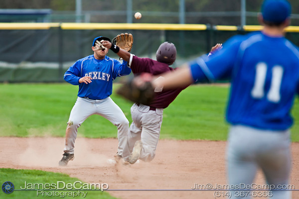 Bexley High School's Ben Golden (18) and Columbus Academy High School Kennedy Clark (4) collide at second base in the fourth inning of play at the Bexley Baseball fields Friday afternoon April 15, 2011.  Clark was out in the play.  (© James D. DeCamp   http://www.JamesDeCamp.com   614-367-6366)