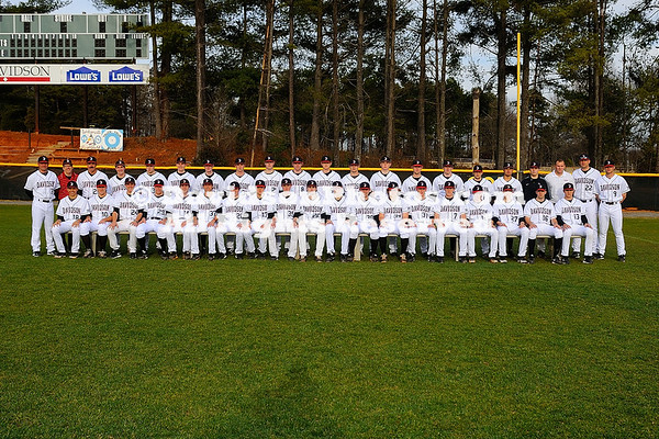 14 February 2013: Davidson baseball poses for its annual team photo at Wilson Field in Davidson, North Carolina.