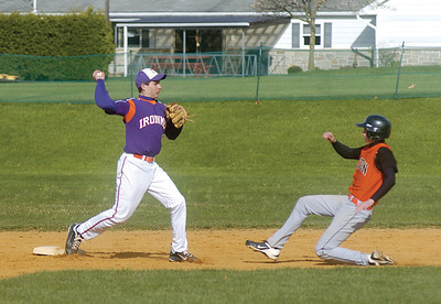 Andrew Andreychik throws to first for a double play attempt with Milton's Brady Chappell sliding into second.