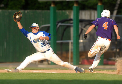 Danville's Trevor Leitzel beats the throw to South Williamsport's Ryan Orgitano during their game Thursday May 31, 2012 at Bowman Field in Williamsport.