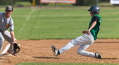 Colter appears to be caught but somehow the ball takes a bad hop and bounces away from the 3rd baseman.