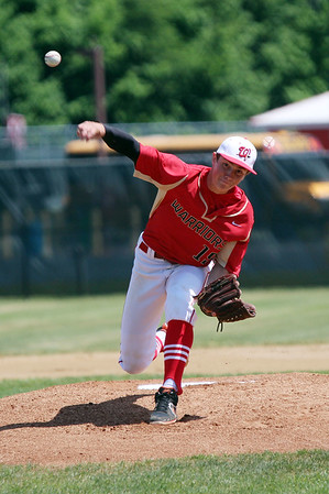 STEPHEN BROOKS | THE GOSHEN NEWS<br /> Westview junior Houston Haney throws a pitch during Monday's 2A sectional championship game against Bremen at Westview. Bremen won 7-6 in 10 innings.