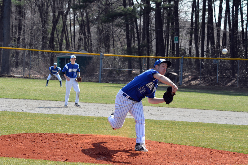 Lunenburg sophomore pitcher Dawson Stacy threw a complete game to pick up his first career victory on Friday, beating Ayer Shirley at Marshall Park. SENTINEL & ENTERPRISE / ED NISER