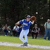 Blue Knights first baseman Jason Booth fields a throw during the second inning of Friday's win over Ayer Shirley at Marshall Park. SENTINEL & ENTERPRISE / ED NISER
