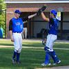Leominster's Chris Piper is congratulated by catcher Nick Cordio after getting the last out of Monday's game against Shepherd Hill.<br /> SENTINEL & ENTERPRISE/GARY FOURNIER