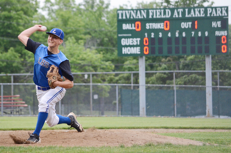 Leominster High's Neil O'Connor took the mound on Wednesday evening in LHS's 2-1 victory over St. John's in the Central Mass. Division 1 baseball semifinals. SENTINEL & ENTERPRISE / Ashley Green