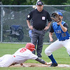Leominster High's #18 Tanner Jakola checks a St. John's base runner back to the bag during LHS's 2-1 victory over St. John's in the Central Mass. Division 1 baseball semifinals. SENTINEL & ENTERPRISE / Ashley Green