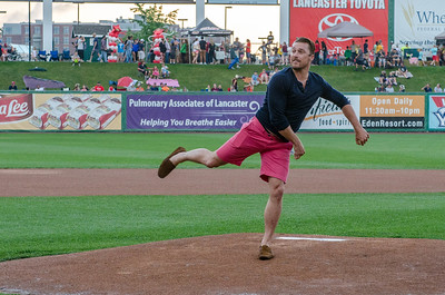 Reality TV star, Chris Soules, throws out the other first pitch.