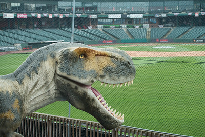 There are even dinosaurs at the ball park!