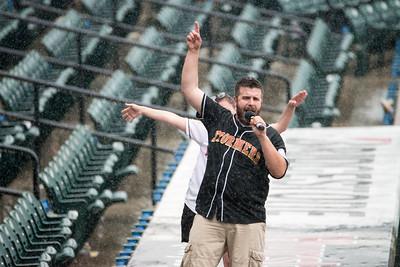 Singing away the rain delay