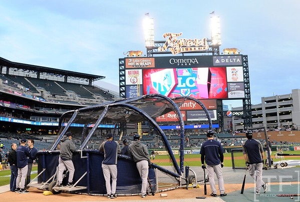 Oct 17, 2012; Detroit, MI, USA; A general view during New York Yankees batting practice before game four of the 2012 ALCS against the Detroit Tigers at Comerica Park.   Mandatory Credit: Tim Fuller-USA TODAY Sports