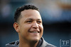 Oct 17, 2012; Detroit, MI, USA; Detroit Tigers third baseman Miguel Cabrera before game four of the 2012 ALCS against the New York Yankees at Comerica Park.   Mandatory Credit: Tim Fuller-USA TODAY Sports