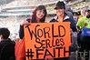 Oct 17, 2012; Detroit, MI, USA; Detroit Tigers fans Andrea Ballegos (left) and Alicia Garcia (right) hold up a sign before game four of the 2012 ALCS against the New York Yankees at Comerica Park.   Mandatory Credit: Tim Fuller-USA TODAY Sports