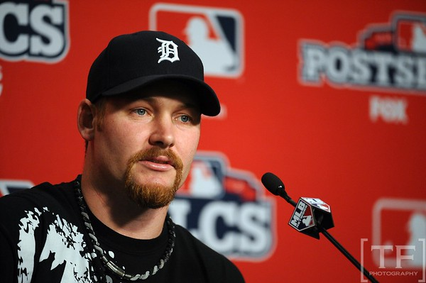 Oct 17, 2012; Detroit, MI, USA; Detroit Tigers relief pitcher Phil Coke speaks at a press conference before game four of the 2012 ALCS against the New York Yankees at Comerica Park.   Mandatory Credit: Tim Fuller-USA TODAY Sports