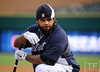 Oct 17, 2012; Detroit, MI, USA; Detroit Tigers first baseman Prince Fielder before game four of the 2012 ALCS against the New York Yankees at Comerica Park.   Mandatory Credit: Tim Fuller-USA TODAY Sports