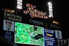 Oct 17, 2012; Detroit, MI, USA; A local weather map showing the incoming inclement weather is displayed on the scoreboard before game four of the 2012 ALCS between the New York Yankees and the Detroit Tigers at Comerica Park.   Mandatory Credit: Tim Fuller-USA TODAY Sports