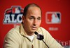 Oct 17, 2012; Detroit, MI, USA; New York Yankees general manager Brian Cashman speaks at a press conference before game four of the 2012 ALCS against the Detroit Tigers at Comerica Park.   Mandatory Credit: Tim Fuller-USA TODAY Sports