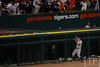 Oct 13, 2011; Detroit, MI, USA; Texas Rangers left fielder David Murphy (7) watches Detroit Tigers left fielder Delmon Young (not pictured) homerun in the sixth inning of game five of the 2011 ALCS at Comerica Park.  Mandatory Credit: Tim Fuller-US PRESSWIRE