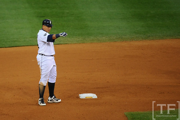 Oct 13, 2011; Detroit, MI, USA; Detroit Tigers first baseman Miguel Cabrera (24) after hitting a double in the sixth inning of game five of the 2011 ALCS against the Texas Rangers at Comerica Park.  Mandatory Credit: Tim Fuller-US PRESSWIRE