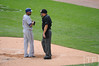 Oct 13, 2011; Detroit, MI, USA; Texas Rangers right fielder Nelson Cruz (17) talks to home plate umpire Jeff Nelson in the second inning of game five of the 2011 ALCS against the Detroit Tigers at Comerica Park.  Mandatory Credit: Tim Fuller-US PRESSWIRE