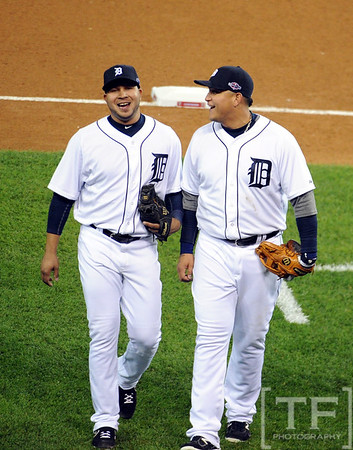 Oct 16, 2012; Detroit, MI, USA; Detroit Tigers infielder Jhonny Peralta (left) and Miguel Cabrera (right) head back to the dugout after the 6th inning during game three of the 2012 ALCS against the New York Yankees at Comerica Park.  Mandatory Credit: Tim Fuller-USA TODAY Sports