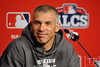 Oct 16, 2012; Detroit, MI, USA; New York Yankees manager Joe Girardi at a press conference before game three of the 2012 ALCS against the Detroit Tigers at Comerica Park.  Mandatory Credit: Tim Fuller-USA TODAY Sports