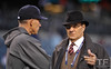 Oct 16, 2012; Detroit, MI, USA; MLB executive vice president of baseball operations Joe Torre (right) speaks with New York Yankees manager Joe Girardi (left) before game three of the 2012 ALCS against the Detroit Tigers at Comerica Park.  Mandatory Credit: Tim Fuller-USA TODAY Sports