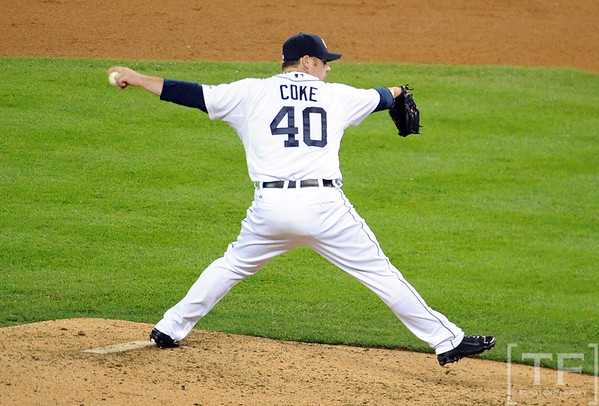 Oct 16, 2012; Detroit, MI, USA; Detroit Tigers relief pitcher Phil Coke throws a pitch against the New York Yankees in the 9th inning during game three of the 2012 ALCS at Comerica Park.  The Tigers won 2-1. Mandatory Credit: Tim Fuller-USA TODAY Sports