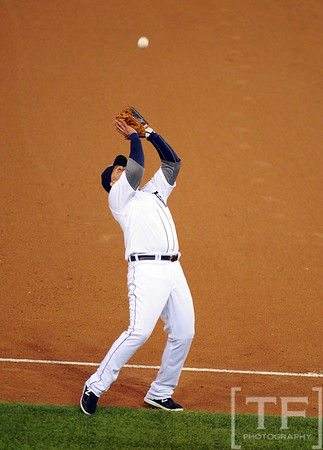 Oct 16, 2012; Detroit, MI, USA; Detroit Tigers third baseman Miguel Cabrera catches a pop up by New York Yankees center fielder Curtis Granderson (not pictured) in the 6th inning during game three of the 2012 ALCS at Comerica Park.  Mandatory Credit: Tim Fuller-USA TODAY Sports