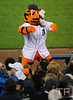 Oct 16, 2012; Detroit, MI, USA; The mascot for the Detroit Tigers performs in the 5th inning during game three of the 2012 ALCS against the New York Yankees at Comerica Park.  Mandatory Credit: Tim Fuller-USA TODAY Sports