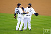 Oct 16, 2012; Detroit, MI, USA; Detroit Tigers third baseman Miguel Cabrera (24) celebrates with first baseman Prince Fielder after game three of the 2012 ALCS against the New York Yankees at Comerica Park.  The Tigers won 2-1. Mandatory Credit: Tim Fuller-USA TODAY Sports