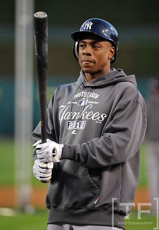 Oct 16, 2012; Detroit, MI, USA; New York Yankees center fielder Curtis Granderson before game three of the 2012 ALCS against the Detroit Tigers at Comerica Park.  Mandatory Credit: Tim Fuller-USA TODAY Sports