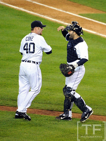 Oct 16, 2012; Detroit, MI, USA; Detroit Tigers relief pitcher Phil Coke (40) celebrates with catcher Alex Avila after game three of the 2012 ALCS against the New York Yankees at Comerica Park.  The Tigers won 2-1. Mandatory Credit: Tim Fuller-USA TODAY Sports