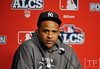 Oct 16, 2012; Detroit, MI, USA; New York Yankees pitcher CC Sabathia at a press conference before game three of the 2012 ALCS against the Detroit Tigers at Comerica Park.  Mandatory Credit: Tim Fuller-USA TODAY Sports