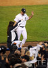 Oct 16, 2012; Detroit, MI, USA; Detroit Tigers starting pitcher Justin Verlander waves to the crowd as he heads to the dugout after being relieved in the 9th inning during game three of the 2012 ALCS against the New York Yankees at Comerica Park.  The Tigers won 2-1. Mandatory Credit: Tim Fuller-USA TODAY Sports