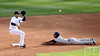 Oct 18, 2012; Detroit, MI, USA; New York Yankees shortstop Eduardo Nunez (26) steals second base ahead of the throw to Detroit Tigers shortstop Jhonny Peralta in the second inning during game four of the 2012 ALCS at Comerica Park.   Mandatory Credit: Tim Fuller-USA TODAY Sports