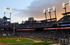 Oct 18, 2012; Detroit, MI, USA; A general view as the sun sets during game four of the 2012 ALCS between the Detroit Tigers and the New York Yankees at Comerica Park.  The Tigers won 8-1 to sweep the series and advance to the World Series.  Mandatory Credit: Tim Fuller-USA TODAY Sports