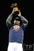 Oct 18, 2012; Detroit, MI, USA; Detroit Tigers designated hitter Delmon Young hoists the ALCS MVP trophy after game four of the 2012 ALCS against the New York Yankees at Comerica Park.  The Tigers won 8-1 to sweep the series and advance to the World Series.  Mandatory Credit: Tim Fuller-USA TODAY Sports